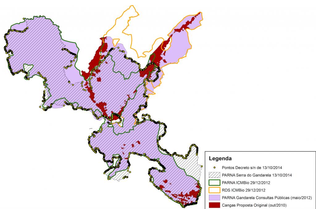 Conheça os limites do Parque Nacional da Serra do Gandarela no mapa abaixo e observe a legenda para entender as informações: